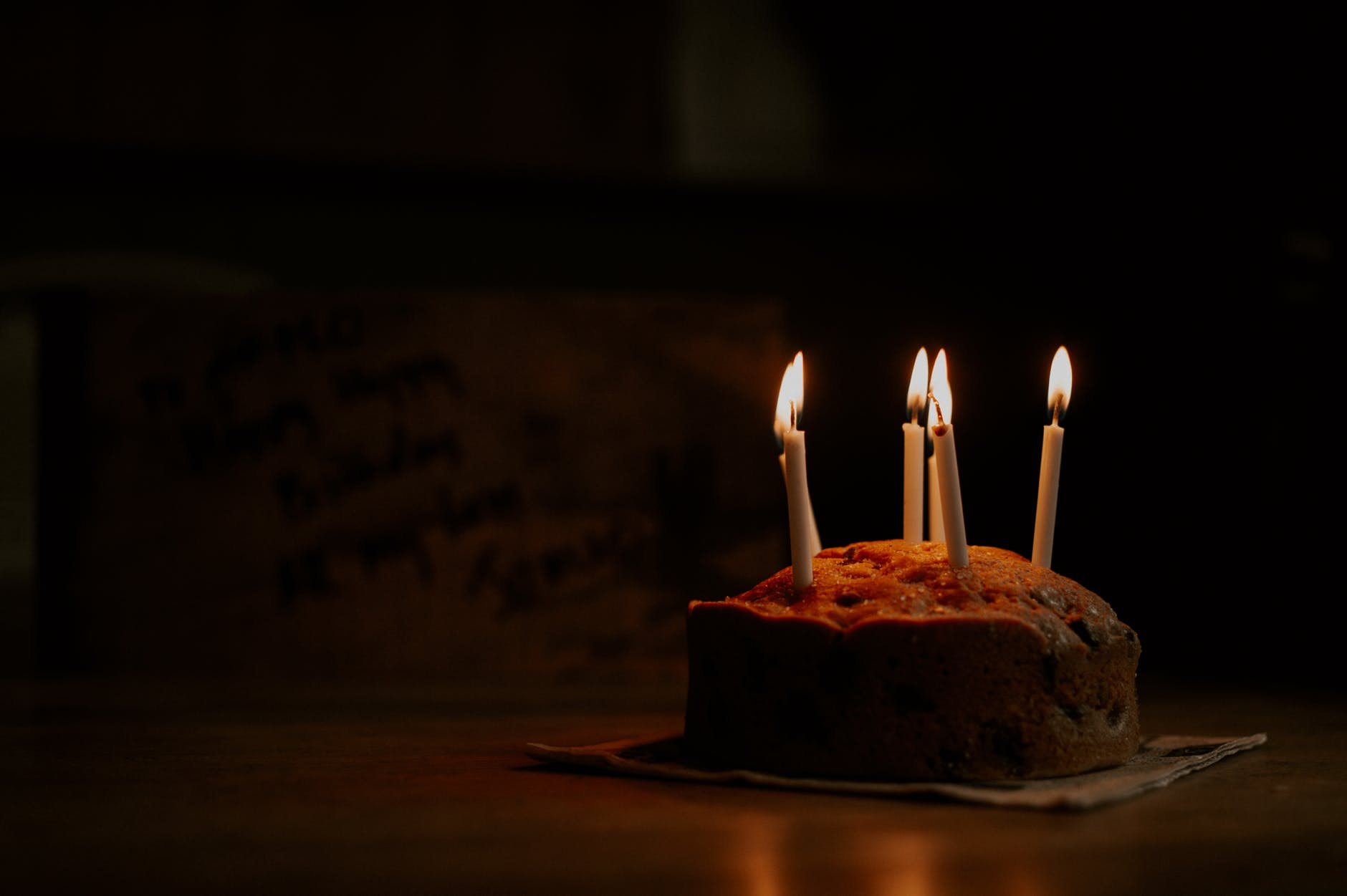 cake with lighted candles