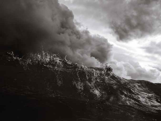 grayscale photo of waves